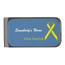 Yellow Standard Ribbon by Kenneth Yoncich Gunmetal Finish Money Clip