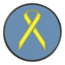 Yellow Standard Ribbon by Kenneth Yoncich Hockey Puck