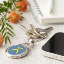 Yellow Standard Ribbon by Kenneth Yoncich Keychain