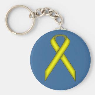 Yellow Standard Ribbon by Kenneth Yoncich Keychain