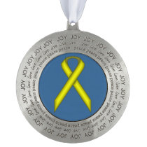 Yellow Standard Ribbon by Kenneth Yoncich Pewter Ornament