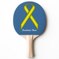 Yellow Standard Ribbon by Kenneth Yoncich Ping-Pong Paddle