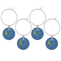 Yellow Standard Ribbon by Kenneth Yoncich Wine Glass Charm