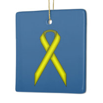 Yellow Standard Ribbon Ceramic Ornament