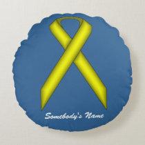 Yellow Standard Ribbon Round Pillow