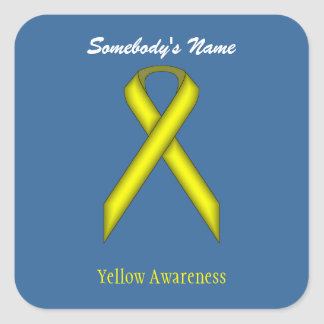 Yellow Standard Ribbon Square Sticker