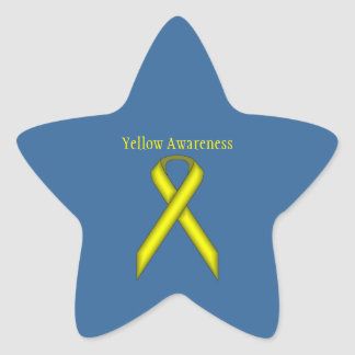 Yellow Standard Ribbon Star Sticker