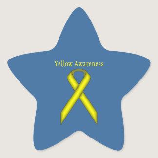 Yellow Standard Ribbon Star Sticker