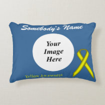 Yellow Standard Ribbon Template Decorative Pillow