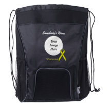 Yellow Standard Ribbon Template Drawstring Backpack