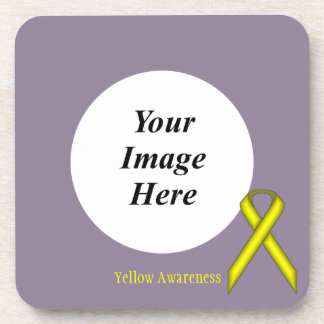 Yellow Standard Ribbon Template Drink Coaster