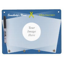 Yellow Standard Ribbon Template Dry Erase Board With Keychain Holder