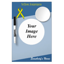 Yellow Standard Ribbon Template Dry Erase Board With Mirror