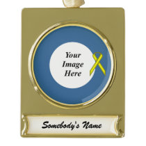 Yellow Standard Ribbon Template Gold Plated Banner Ornament