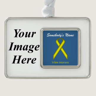 Yellow Standard Ribbon Template (H-I) Silver Plated Framed Ornament