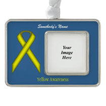 Yellow Standard Ribbon Template (H-O) Silver Plated Framed Ornament
