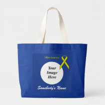 Yellow Standard Ribbon Template Large Tote Bag