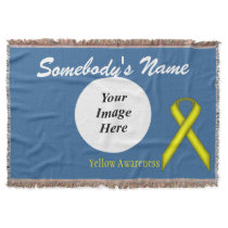 Yellow Standard Ribbon Template Throw Blanket