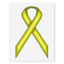 Yellow Standard Ribbon Temporary Tattoos