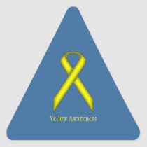 Yellow Standard Ribbon Triangle Sticker