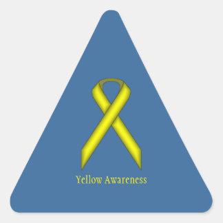 Yellow Standard Ribbon Triangle Sticker
