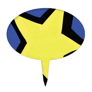 yellow star and a blue background cake topper