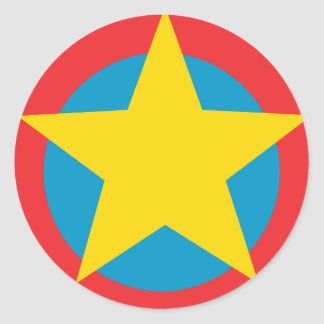 Yellow Star Blue and Red Circles Classic Round Sticker