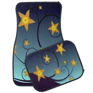 Yellow Star Flowers on Blue Floor Mat