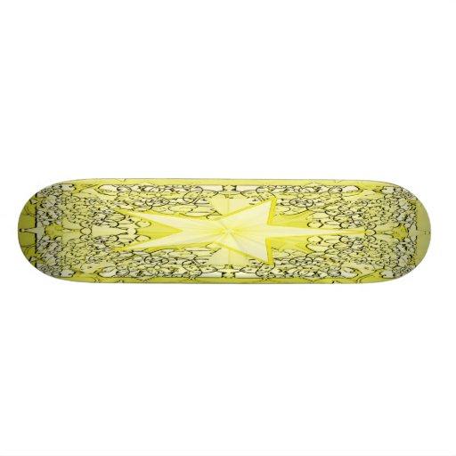 Yellow Star Fractal Art Skateboard