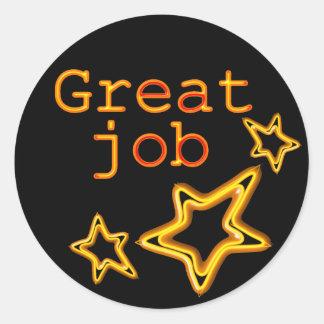 yellow star good job classic round sticker