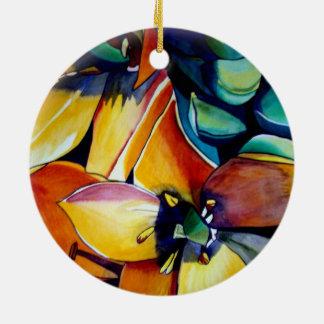 Yellow Star of Bethlehem flower watercolor art Ceramic Ornament