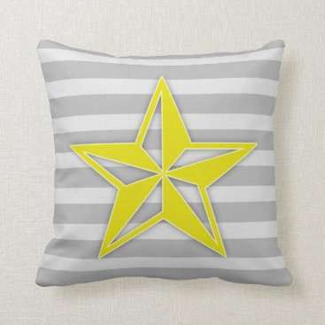 Beach Themed Yellow Star on Grey Stripes Throw Pillow