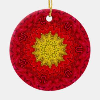 Yellow Star on Red Mandala Ceramic Ornament