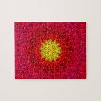 Yellow Star on Red Mandala Jigsaw Puzzle