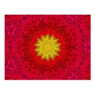 Yellow Star on Red Mandala Postcard