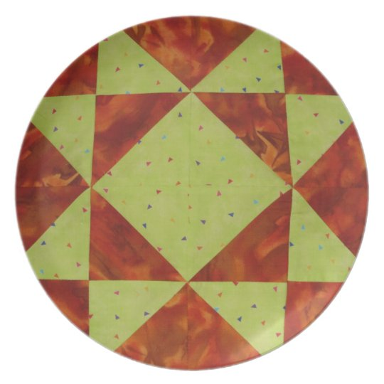 Yellow Star Quilter's Plate