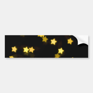 YELLOW STAR SHAPES BOKEH LIGHTS BLURRED WINTER BUMPER STICKER
