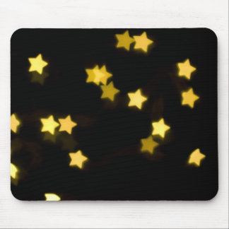 YELLOW STAR SHAPES BOKEH LIGHTS BLURRED WINTER MOUSE PAD