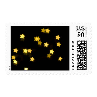 YELLOW STAR SHAPES BOKEH LIGHTS BLURRED WINTER PHO POSTAGE