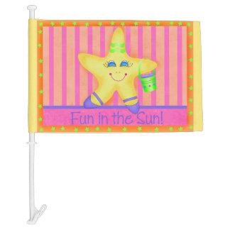 Yellow Starfish Fun in the Sun Beach Custom Car Flag
