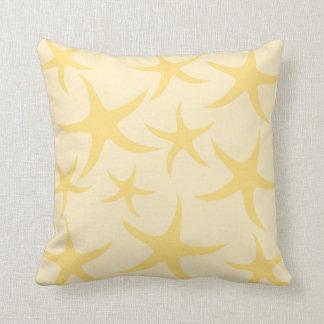 Yellow Starfish Pattern. Throw Pillows