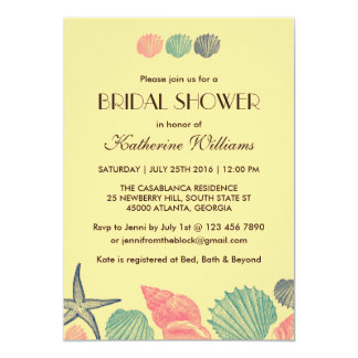 "Yellow Starfish Seashells Bridal Shower Invitation 5"" X 7"" Invitation Card"