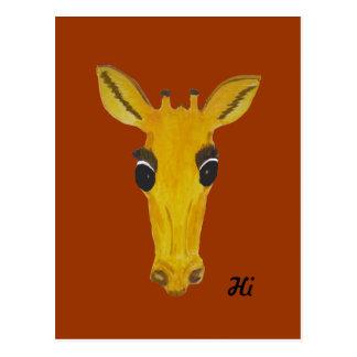 Yellow Staring Giraffe Hi and hello cards