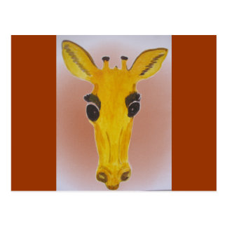 Yellow Staring Giraffe Postcard