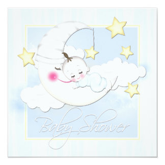 Yellow Stars and Blue Moon Baby Boy Shower Card