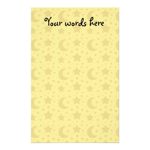 Yellow stars and moons pattern stationery