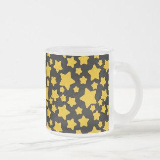 Yellow Stars Black Pattern 10 Oz Frosted Glass Coffee Mug