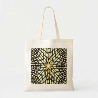 Yellow Stars Fractal Lace Tote Bag