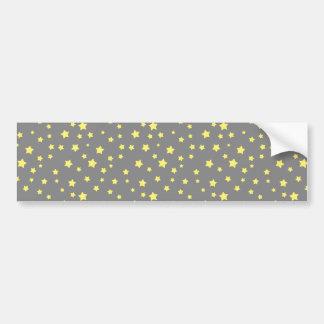 Yellow Stars Gray Pattern Bumper Sticker