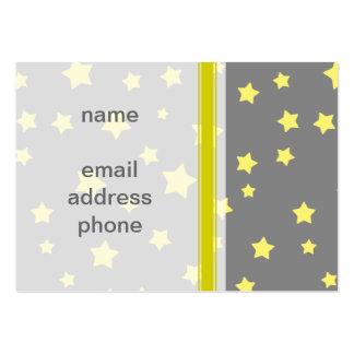 Yellow Stars Gray Pattern Large Business Card